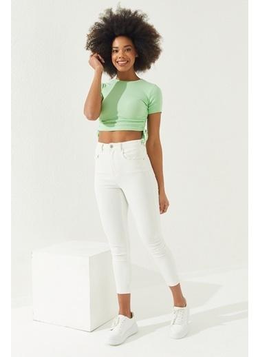 Reyon REYON Kadın Yanları Büzgülü Kısa Kol Kaşkorse Bluz Mint Yeşili Yeşil
